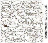 set of hand drawn speech and... | Shutterstock .eps vector #670277281