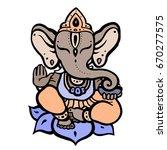 hindu god ganesha. hand drawn... | Shutterstock .eps vector #670277575