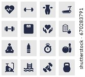 set of 16 fitness icons set... | Shutterstock .eps vector #670283791