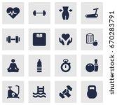 set of 16 fitness icons set... | Shutterstock .eps vector #670283791