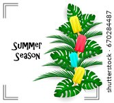 summer tropic branch with... | Shutterstock .eps vector #670284487