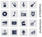 set of 16 melody icons set... | Shutterstock .eps vector #670284961