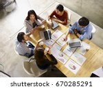 high angle view of a team of... | Shutterstock . vector #670285291