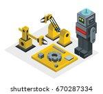 robot factory in isometric... | Shutterstock . vector #670287334