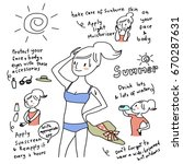 beauty treatment in summer... | Shutterstock .eps vector #670287631