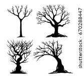 Set of halloween tree . Dead Branch from vector.Halloween tree by hand drawing.Black plant on white background.