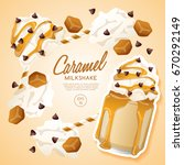 caramel milkshake in cocktail... | Shutterstock .eps vector #670292149