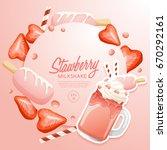 strawberry milkshake in... | Shutterstock .eps vector #670292161