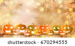 halloween pumpkin autumn leaves ... | Shutterstock .eps vector #670294555