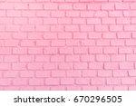 Pastel Pink Ordered Brick Wall...