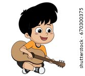 the kid played guitar. the... | Shutterstock .eps vector #670300375