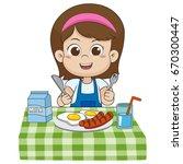 the child eats breakfast that... | Shutterstock .eps vector #670300447