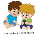 kid play phone with friend... | Shutterstock .eps vector #670300771