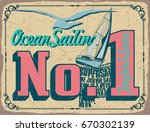 nautical poster with sample... | Shutterstock .eps vector #670302139
