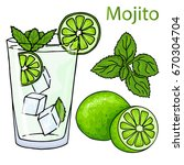 glass of mojito  ice cubes ... | Shutterstock .eps vector #670304704