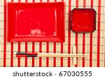 Red And Black Empty Sushi Set...