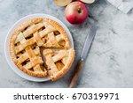 popular american apple pie... | Shutterstock . vector #670319971