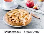 popular american apple pie... | Shutterstock . vector #670319989