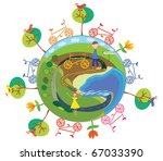 funny globe with bycicles symbol | Shutterstock .eps vector #67033390