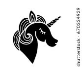 cute unicorn silhouette.... | Shutterstock .eps vector #670334929
