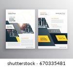 modern yellow brochures set for ... | Shutterstock .eps vector #670335481