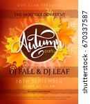 vector autumn party poster with ... | Shutterstock .eps vector #670337587