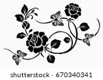 flower motif sketch for design  | Shutterstock .eps vector #670340341