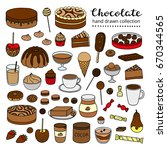 collection of colored doodle... | Shutterstock .eps vector #670344565