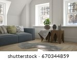 white room with sofa and winter ... | Shutterstock . vector #670344859