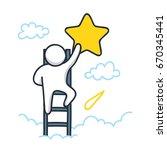 a male character climbing a... | Shutterstock .eps vector #670345441