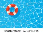 red pool ring floating in a... | Shutterstock .eps vector #670348645