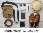top view accessories to travel... | Shutterstock . vector #670352329