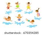 active kids children  boys and... | Shutterstock .eps vector #670354285