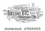 Stock photo crypto currencies with a capitalization of more than million the font size roughly shows the 670354525