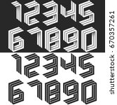 numbers set isometric geometric ... | Shutterstock .eps vector #670357261