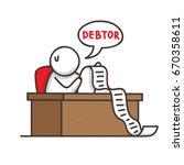 a male speaking debtor   debt... | Shutterstock .eps vector #670358611