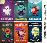 vintage halloween poster design ... | Shutterstock .eps vector #670362295