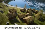 wooden cottages in norway | Shutterstock . vector #670363741