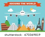 around the world modern flat... | Shutterstock .eps vector #670369819