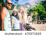 a group of young people friends ... | Shutterstock . vector #670371835