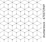Vector geometric pattern grid texture with lines and dots. Seamless hexagon background. | Shutterstock vector #670372969