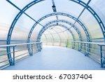 Blue Glass Corridor In Office...