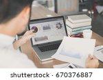 man presentation business graph ...   Shutterstock . vector #670376887