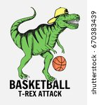basketball player dinosaur... | Shutterstock .eps vector #670383439
