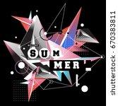 trendy vector summer cards... | Shutterstock .eps vector #670383811