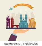 the hand holds the sights of... | Shutterstock .eps vector #670384705