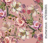 watercolor bouquet lily and... | Shutterstock . vector #670386001