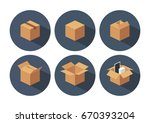 open and closed recycle brown... | Shutterstock .eps vector #670393204