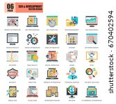 flat conceptual icons pack seo... | Shutterstock .eps vector #670402594
