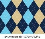blue beige argyle seamless... | Shutterstock .eps vector #670404241